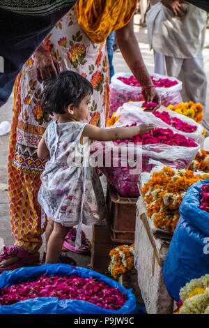 Grazioso piccolo ragazza indiana con una donna che guarda a fiori in uno stallo nella Vecchia Delhi, India Foto Stock