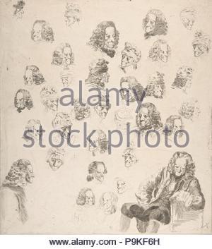 Schizzi di Voltaire all'età Eighty-One, 1775, attacco, foglio: 12 1/16 x 10 3/4 in. (30.6 x 27.3 cm), stampe, il barone Dominique Vivant Denon (francese, Givry 1747-1825 Parigi). Foto Stock