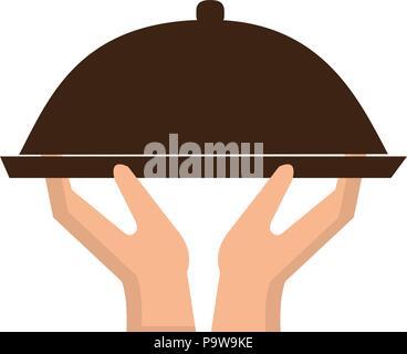 Le mani di sollevamento server vassoio Foto Stock