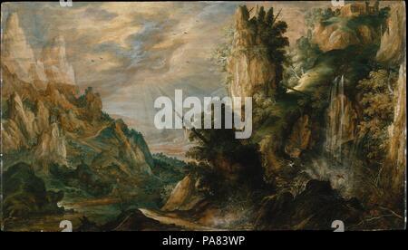 Un paesaggio di montagna con una cascata. Artista: Kerstiaen de Keuninck (fiammingo, Kortrijk ca. 1560-1632/33 Anversa). Dimensioni: 27 1/4 x 48 in. (69,2 x 121,9 cm). Data: ca. 1600. A differenza di Jan Brueghel il Vecchio, che fu una figura di primo piano nello sviluppo di una realistica la pittura di paesaggio, Kerstiaen de Keuninck ha continuato la tradizione fiamminga di immaginario del paesaggio di montagna che discende da Patinir. Questa ampia e panoramica vista del paesaggio, dominato da fantastiche montagne e formazioni rocciose, è un inizio di lavoro dell artista e probabilmente era dipinta in Anversa. Essa illustra la sua preoccupazione con cont Foto Stock