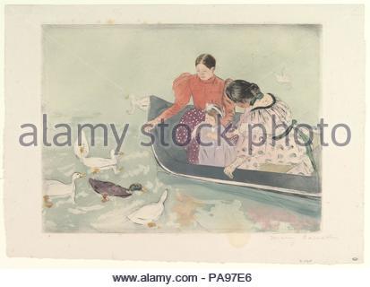 Dar da mangiare alle anatre. Artista: Mary Cassatt (American, Pittsburgh, Pennsylvania 1844-1926 Le Mesnil-Théribus, Oise). Dimensioni: piastra: 11 11/16 x 15 3/4 in. (29,7 x 40 cm) foglio: 14 1/2 x 20 in. (36,8 x 50,8 cm). Data: ca. 1894. Museo: Metropolitan Museum of Art di New York, Stati Uniti d'America. Foto Stock