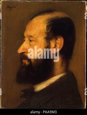 """Altès Joseph-Henri (1826-1895). Artista: Edgar Degas (francese, Parigi Parigi 1834-1917). Dimensioni: 9 7/8 x 7 7/8 in. (25,1 x 20 cm); con aggiunta di strisce 10 5/8 x 8 1/2 in. (27 x 21,6 cm). Data: 1868. Questa vista di profilo del primo flautista e concertmaster del Paris Opéra, Joseph-Henri Altès, è uno di Degas's molti ritratti di musicisti. Come un 'piccolo scherzo,' Lousine Havemeyer, che originariamente proprietà della pittura, appeso tra due ritratti del Rinascimento ed è stato molto contento di trovare che """" il moderno maestro ha tenuto il suo propri."""". Museo: Metropolitan Museum of Art di New York, Stati Uniti d'America. Foto Stock"""