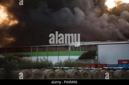 Rostock, Germania. Il 24 luglio, 2018. Le dense nubi di fumo si alzano da un cantiere di riciclaggio durante un incendio. Secondo un portavoce della polizia, inizialmente, non ci sono state vittime. Credito: Frank Hormann/dpa/Alamy Live News Foto Stock