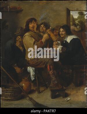 I fumatori. Artista: Adriaen Brouwer (fiammingo di Oudenaarde 1605/6-1638 Anversa). Dimensioni: 18 1/4 x 14 1/2 in. (46,4 x 36,8 cm). Data: ca. 1636. Il Fleming Brouwer ha lavorato in Haarlem e Amsterdam prima di unire i pittori di Anversa' guild nel 1621-32. Il suo enorme talento e flair per la commedia umana ha guadagnato la breve durata artista della stima di Rubens e Rembrandt. In questa famosa immagine, Brouwer stesso centro (primo piano) riproduce uno dei suoi soliti habitué taverna, con la still-life pittore Jan de Heem (destra) e più derelitti compagni che serve come un coro di fumatori. Effetti effimeri, compresa Foto Stock