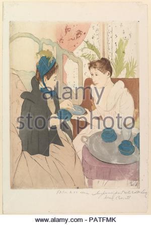 Il tè del pomeriggio parte. Artista: Mary Cassatt (American, Pittsburgh, Pennsylvania 1844-1926 Le Mesnil-Théribus, Oise). Dimensioni: piastra: 13 5/8 x 10 1/2 in. (34,6 x 26,7 cm) foglio: 17 1/16 x 11 3/4 in. (43,3 x 29,8 cm). Data: 1890-1891. Museo: Metropolitan Museum of Art di New York, Stati Uniti d'America. Foto Stock