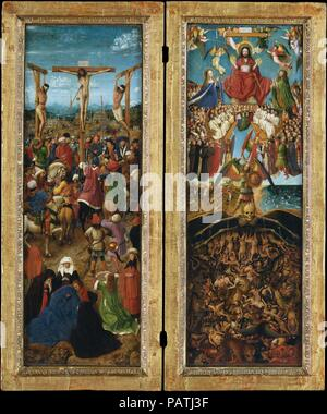 """La crocifissione; l'ultima sentenza. Artista: Jan van Eyck (Netherlandish, Maaseik ca. 1390-1441 Bruges) e assistente di officina. Dimensioni: ogni 22 1/4 x 7 2/3 in. (56,5 x 19,7 cm). Data: ca. 1440-41. Filippo il Buono, duca di Borgogna, considerato Van Eyck (pittore di corte) ineguagliabile nel suo 'arte e scienza"""". In realtà, Van Eyck l'ampia ancora microcosmic dipinti sembrano osservato sia attraverso un microscopio ed un telescopio. In <i>La Crocifissione</i>, egli evoca una notevole gamma di emozioni tra la folla, visto contro un paesaggio raffigurante un immaginato Gerusalemme; nel 1426 egli fece un viaggio attraverso Foto Stock"""