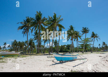 Rustico barche fihing parcheggiato su una spiaggia di sabbia bianca con alberi di noce di cocco nel nord di Cebu, Filippine Foto Stock