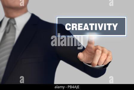Creatività concetto di spinta 3d illustrazione Foto Stock