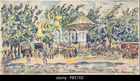 La festa del villaggio (La Vogue). Artista: Paul Signac (francese, Parigi Parigi 1863-1935). Dimensioni: 6 x 11 1/4 in. (15,3 x 28,7 cm). Data: ca. 1920. Museo: Metropolitan Museum of Art di New York, Stati Uniti d'America. Foto Stock