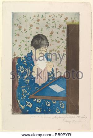 La lettera. Artista: Mary Cassatt (American, Pittsburgh, Pennsylvania 1844-1926 Le Mesnil-Théribus, Oise). Dimensioni: piastra: 13 5/8 x 8 15/16 in. (34,6 x 22,7 cm) foglio: 17 x 11 3/4 in. (43,2 x 29,8 cm). Data: 1890-1891. Museo: Metropolitan Museum of Art di New York, Stati Uniti d'America. Foto Stock