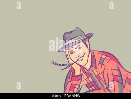 Fumetto illustrazione vettoriale  Fermer boy bugia e sorriso b23f64dfd0fd
