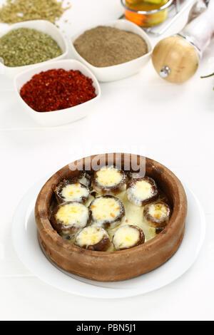 A forma di fungo presente sul formaggio in suolo stufare in casseruola Foto Stock