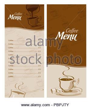 Caff scheda menu modello di disegno vettoriale - Diversi tipi di caffe ...