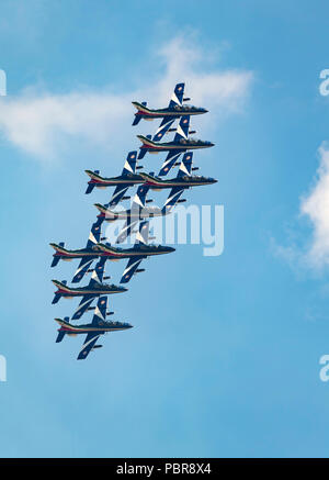 Frecce Tricolori, forza aerea italiana, Aerobatic Team utilizzando AermacchiAT-339un aeromobile Foto Stock