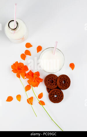Bottiglia e bicchiere di latte con i biscotti al cioccolato e fiori sulla superficie bianca Foto Stock