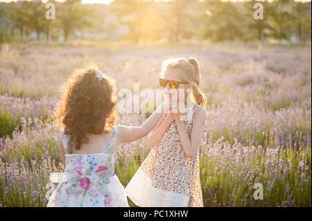 Due graziosi piccoli ragazze in abiti e occhiali da sole tra i campi di fiori in estate Foto Stock
