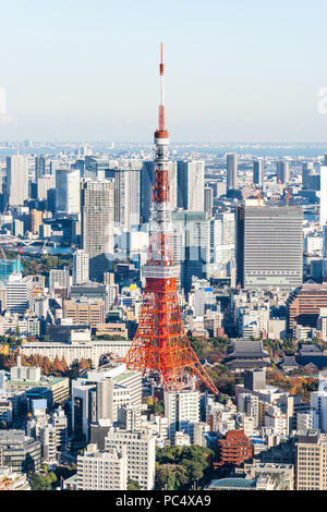 Asia Business concept per il settore immobiliare e aziendale - costruzione moderna panoramiche dello skyline della città bird eye vista aerea della torre di Tokyo e odaiba sotto Foto Stock