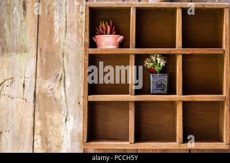 Nove scatole scaffale di legno decorate da piccoli vasi da fiori con vuoto grunge incrinato parete in legno come sfondo.