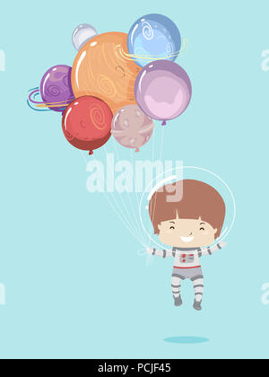 Illustrazione di un ragazzo di capretto astronauta flottante ed essendo portato da palloncini con Planet Design Foto Stock