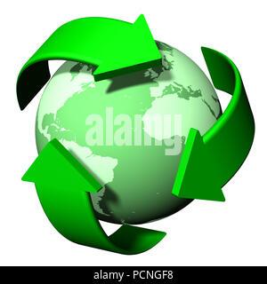Simbolo di riciclaggio. Detergente ecologico mondiale. Foto Stock