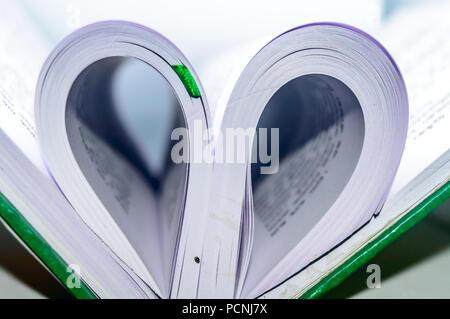 Close up forma di cuore dal libro di carta con la sfocatura dello sfondo. Cuore pagina del libro - vintage stile di effetto foto. Concetto per il giorno di San Valentino. Foto Stock