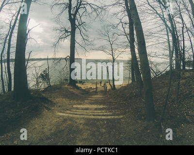 Spiaggia solitaria in Glen Cove, nello stato di new york Foto Stock
