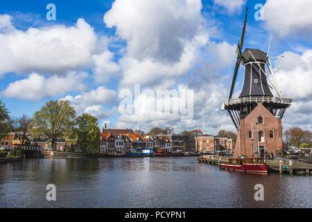 Mulino a vento De Adriaan riflessa nel fiume Spaarne Haarlem Olanda settentrionale dei Paesi Bassi Foto Stock
