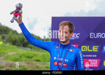 Cathkin Braes, Glasgow, Regno Unito. Il 7 agosto, 2018. Gli uomini di cross country mountain bike processi tenuti su Cathkin bricchi, sul lato sud di Glasgow è stato vinto da LARS FORSTER (Svizzera) contro un campo di 59 piloti internazionali. LUCA BRAIDOT, dall Italia è arrivato secondo ed è stato il runner up. Credito: Findlay/Alamy Live News Foto Stock