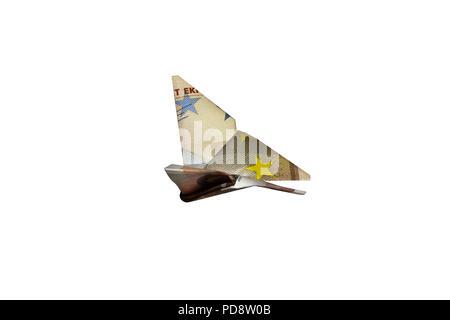 50 euro cinquanta € bolletta di carta ripiegato a battenti origami butterfly denaro facile interesse Foto Stock