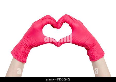 Cuore di rosso guanti medicali, uno stile di vita sano, benefici di vitamine, vaccinazione Paura delle iniezioni, medical store, farmacia, presentazione, q Foto Stock