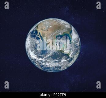 Vista del pianeta Terra dallo spazio, immagine originale fornita dalla NASA Foto Stock