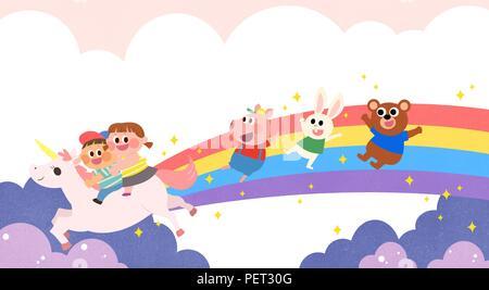 Vettore - Bambini i sogni di un paesaggio fiabesco, essi vivono in una favola illustrazione 017 Foto Stock