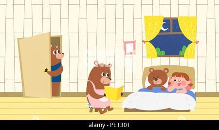 Vettore - Bambini i sogni di un paesaggio fiabesco, essi vivono in una favola illustrazione 012 Foto Stock