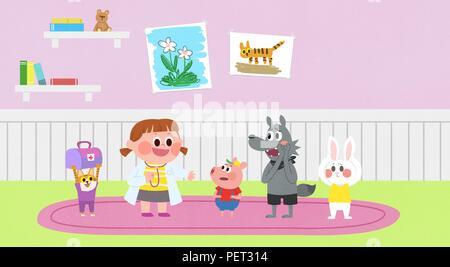 Vettore - Bambini i sogni di un paesaggio fiabesco, essi vivono in una favola illustrazione 008 Foto Stock
