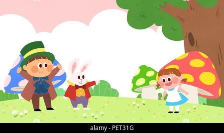 Vettore - Bambini i sogni di un paesaggio fiabesco, essi vivono in una favola illustrazione 004 Foto Stock
