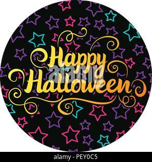 Happy halloween scritte. Illustrazione Vettoriale su nero tondo adesivo sfondo con bambini star. Foto Stock