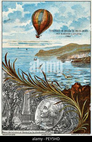 JEAN-PIERRE BLANCHARD un balloonist francese e un americano John Jeffries attraversando il canale inglese il 7 gennaio 1785 come mostrato su una cartolina francese. Foto Stock