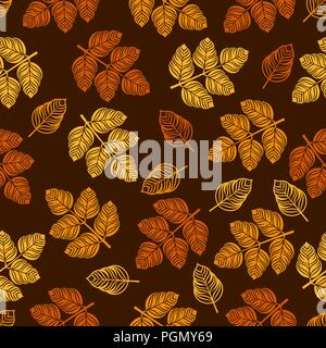 Modello senza cuciture con foglie colorate. Illustrazione Vettoriale Foto Stock
