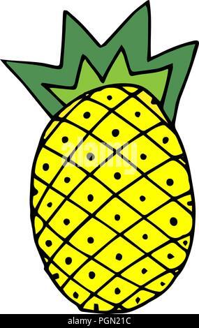 La Frutta Tropicale Vector Giallo Ananas Quartiere Alla Moda Di