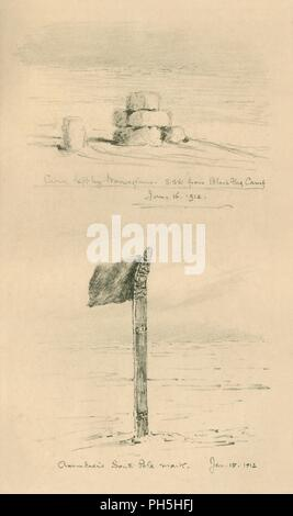 """Cairn lasciato dai norvegesi e Amundsen's Polo Sud Mark"", gennaio 1912, (1913). Artista: Edward Wilson. Foto Stock"