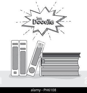 Forniture scolastiche doodle Foto Stock