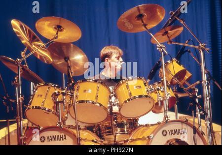"""Tubi"", amerikanische Rockband, bei einem Konzert in München, Deutschland 1983. American rock band ""tubi"" performing live a Monaco di Baviera, Germania Foto Stock"