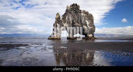 Stack di basalto Hvitserkur, Vatnsnes, Islanda Foto Stock