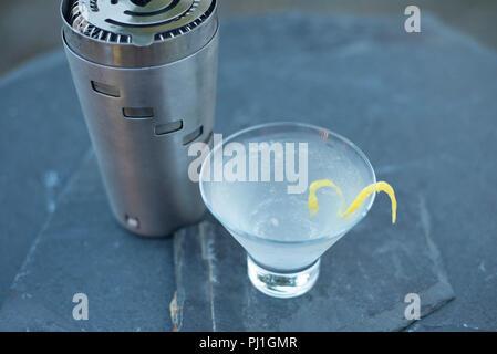 Un rinfrescante scuotitore realizzato vodka martini con un tocco di limone realizzata in una calda serata estiva nel corso di una festa con gli amici e la famiglia