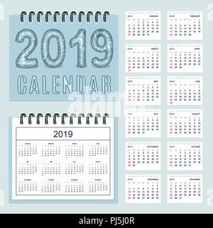Calendario Numero Settimana 2019.Calendario 2019 Settimana Di Inizio Lunedi Sulla Lingua
