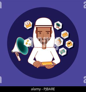 Uomo arabo con telefono cellulare pubblicità marketing social media illustrazione vettoriale Foto Stock