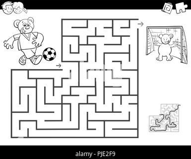 I Bambini Giocare A Palla Cartoon Per La Colorazione Illustrazione
