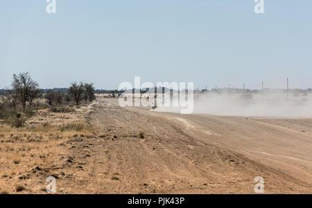 Auto lasciando una nube di polvere su una strada in Namibia Foto Stock