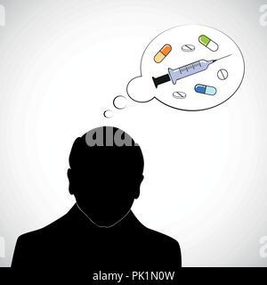 Il vecchio uomo silhouette pensare a medicina compresse e iniettare illustrazione vettoriale EPS10 Foto Stock