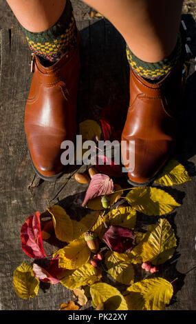 Gambe in stivali in pelle sulle foglie di autunno. Piedi scarpe a piedi nella natura Foto Stock